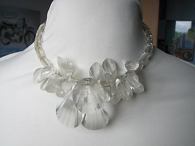 Vintage Clear Lucite Faceted Cones Beads Necklace Choker Fabulous !