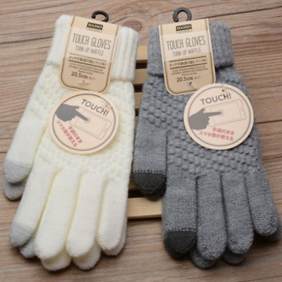 Women Gloves Solid Girl Stretch Knit Mittens Winter Warm Wool Soft Clothing New