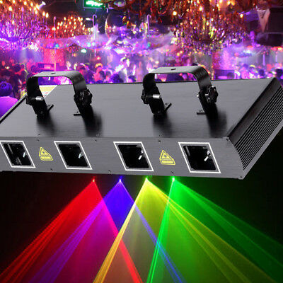 4 Lens 4 Beam RGPY DJ Disco Laser Light Stage Party Show DMX 7CH 460mW NEW HG
