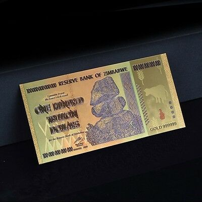 Zimbabwe 100 Trillion Gold Banknote Plated Pure 24K Gold & Coloured (ZM1CLR)