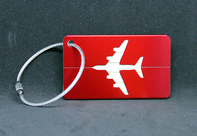 Plane Address Label Name Tag for Luggage Flight Bag Suitcase Air Crew Pilot RED
