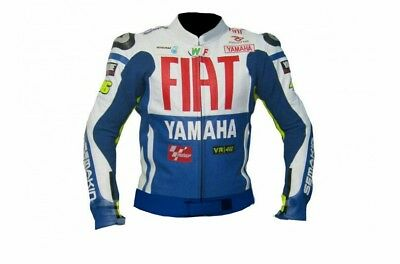 Yamaha Fiat vr46 MotoGP Motorcycle Cow hide Leather Jacket