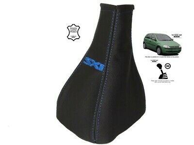 """Gear Stick Gaiter For Vauxhall Corsa C 2000-2006 Leather """"SXI"""" Blue Embroidery"""