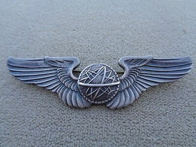 "Wwii Sterling Usaaf Navigator 3"" Wings Us Army Air Corps Ww2 ***pin Back***"