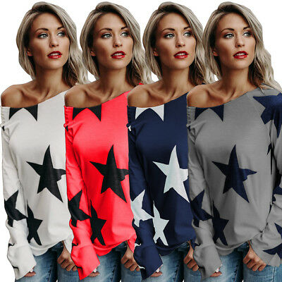 Fashion Women's Off Shoulder Long Sleeve Casual Blouse Loose Cotton Tops T-Shirt