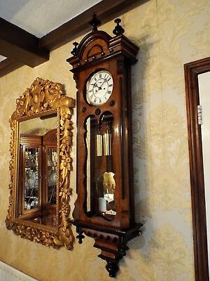 Antique 2 weight Vienna regulator wall clock burr burl walnut