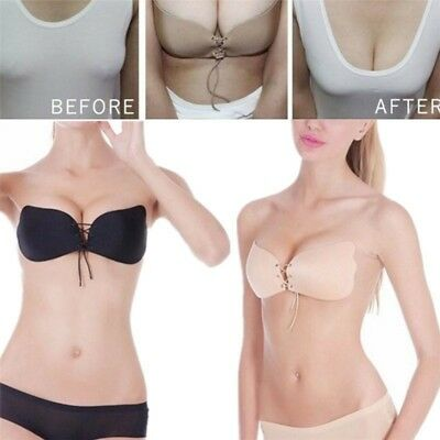 Push Up Sexy Ladies Nubra Brasier Sticky Bra Strapless Silicone Invisible Cup AD