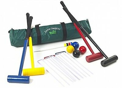 Garden Game, Back Yard 4 Players Lawn Croquet, yard Game Set Mallets Toy cricket
