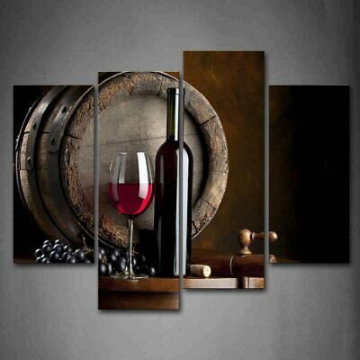 Wine Glass Barrel Wall Art Painting HD Canvas Pictures Home Decor  X4 Panels