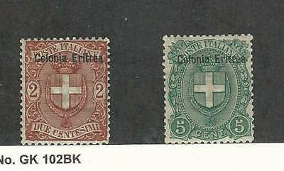 Eritrea (Italy), Postage Stamp, #13-14 MInt Hinged, 1895-99