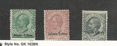 Eritrea (Italy), Postage Stamp, #35-37 Mint Hinged, 1908-20