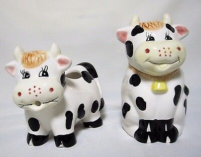 Adorable Holstein Black White Dairy Cow Ceramic Sugar Bowl & Creamer Set