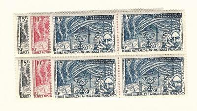 French Southern Antarctic, Postage Stamp, #8-10 Blocks Mint NH, 1957