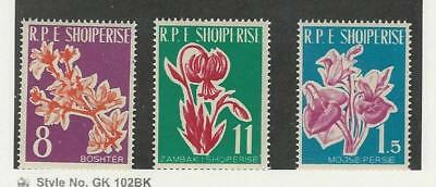 Albania, Postage Stamp, #595-597 Mint NH, 1961 Flowers