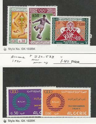 Algeria, Postage Stamp, #400-402, 532-533 Mint NH, 1968-75 Sports Olympics