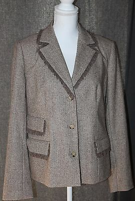 A Pea In The Pod Maternity Blazer Wool Blend Chevron Beige Tan Career Medium (C)