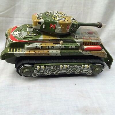 Vintage Nomura,Japan,MX Tank,Tin Plate,Litho,Battery Opp,Retro & Classic Toys.