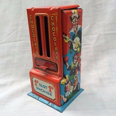 Vintage Tin Plate 1D Penny Slot Machine,Chocolate Dispenser,Clown Litho,GB Made.