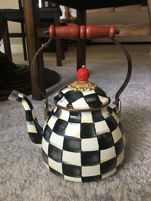 Mackenzie Childs Courtly Check Enamel Tea Kettle Teapot 2 Quart NWT
