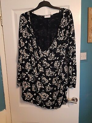 Size 18 Yours 'Bump it up' navy butterfly wrap top