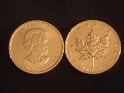 Two (2) Canadian Maple Leaf Bullion Silver. One Ounce Each. FREE Postage