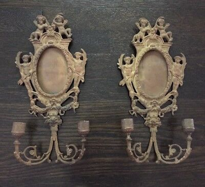 ANTIQUE PAIR Gilded BRASS CHERUB Wall SCONCES  Frame Double Candle Loui XVI Styl