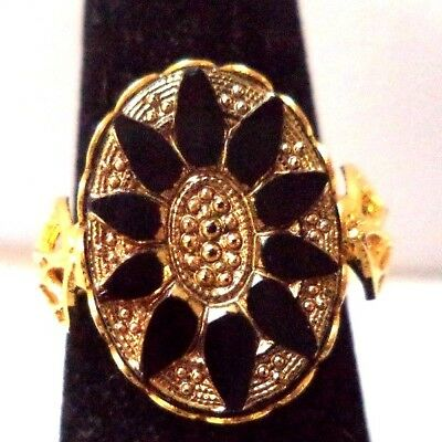 Stunning Vintage Estate Black Gold Tone Flower Adjustable Ring!!! 6793H