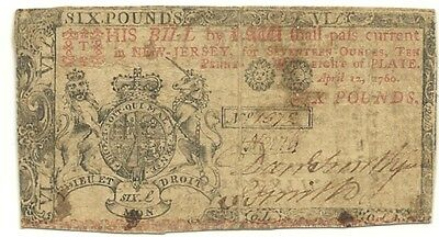 1760 New Jersey 6 Pounds Colonial Currency Note - Rare Issue - High Denomination