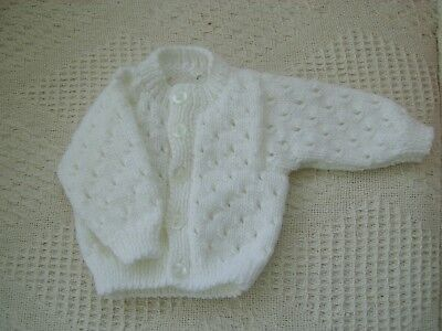 Hand Knitted Baby Cardigan chest size 14 inch chest to fit newborn / small baby