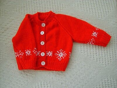 Hand Knitted Baby Cardigan chest size 16 inch chest to fit newborn baby