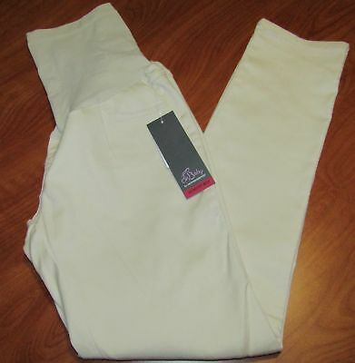 New Oh Baby By Motherhood Secretly Fit Belly Winter White Maternity Pants Sz L