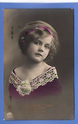Old Vintage 1913 Rp Postcard Pretty Young Girl Pink Hairband Lace On Dress