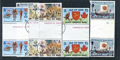 Isle Of Man - 1978 Anniversaries & 1979 Odins Raven Gutter Pairs Sets Fine Used