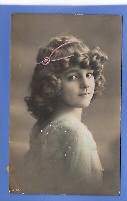 Old Vintage 1911 Rp Postcard Pretty Young Girl Lace Dress Pink Hairband Children