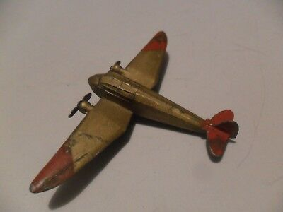 Dinky Toys aeroplane #60e General Monospar 1st type 1934 aircraft, gold and red