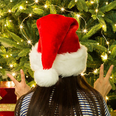 Glitzhome Classic Red Plush Santa Christmas Party Hat Xmas Headgear Costume Cap