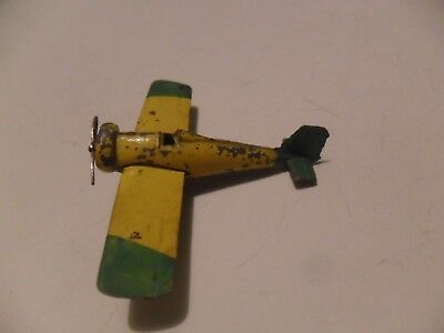 Dinky Toys aeroplane #60d Low wing monoplane yellow with green, rare aircraft