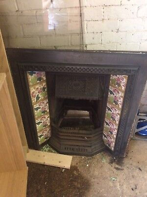 Victorian/ early cast iron tiled fireplace /surround