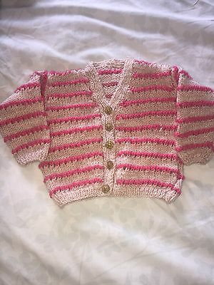 Hand Knitted Baby Girls Cardigan 6 To 12 Months