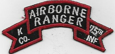 """RARE ORIGINAL VN """"(K) Co., 75TH ABN INF RANGER"""" TAB/PATCH - EMB ON TWILL"""