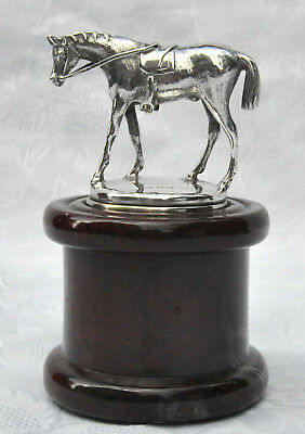 VINTAGE SILVER HORSE STATUETTE / MODEL PAPERWEIGHT SERPENTINE STONE PLINTH c1925