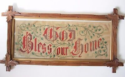 Antique Punch Paper Embroidery GOD BLESS OUR HOME Motto Sampler Tramp Art Frame