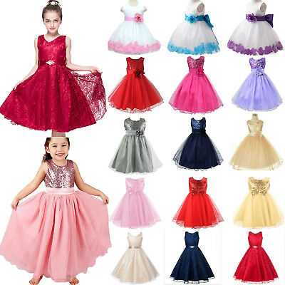 Kids Baby Flower Girls Party Sequins Dresss Wedding Bridesmaid Tutu Tulle Dress