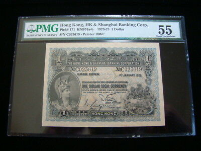 Hong Kong Pick #171 1925 $1.00 PMG Graded About Uncirculated 55 Very Nice!!