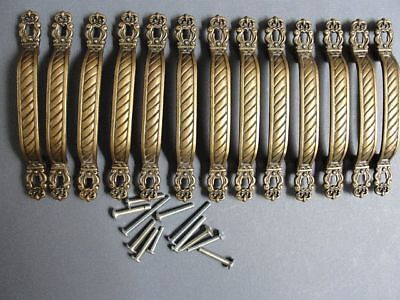 """Vintage ANTIQUED BRONZE / COPPER  13 DRAWER PULLS 3"""" CENTERS 5"""" OVERALL USA  W"""