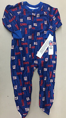 NFL Team Apparel New York NY Giants Toddler Sleeper Pajamas New With Tags