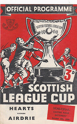 HEARTS v AIRDRIE 1954/5, LEAGUE CUP SEMI-FINAL @ EASTER ROAD