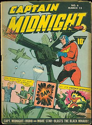 Captain Midnight 6 VG - Fawcett German Nazi World War 2 cover 1943  estate find