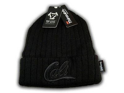 Super Soft Black Cali on Black Beanie Insulated with Thinsulate