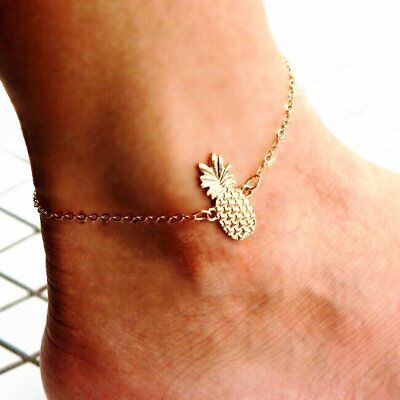 Gold Tone Fruit Bracelet Barefoot Anklet Ankle Foot Chain Womens Ladies Jewelry